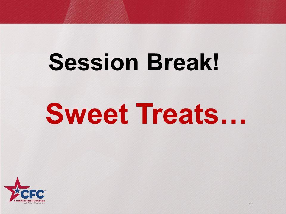 15 Session Break! Sweet Treats…