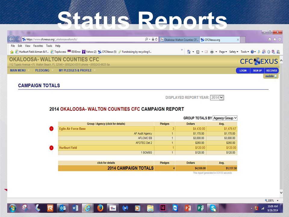 Status Reports 19