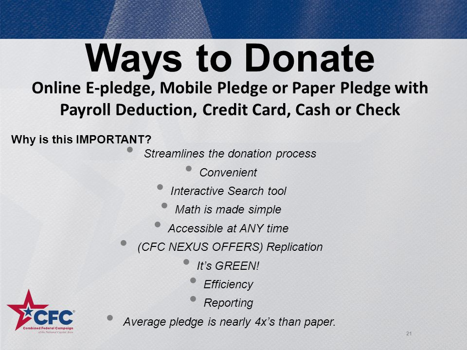 Ways to Donate 21 Why is this IMPORTANT.