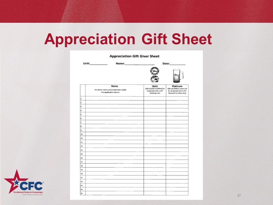 27 Appreciation Gift Sheet