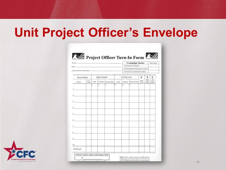 30 Unit Project Officer's Envelope