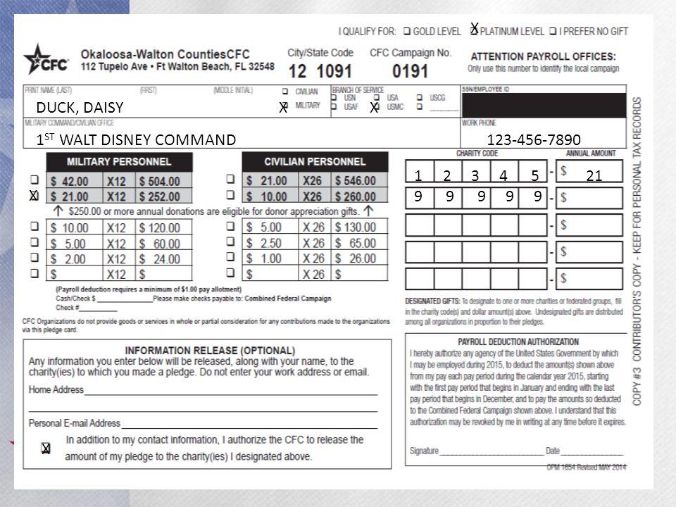 38 DUCK, DAISY 1 ST WALT DISNEY COMMAND 123-456-7890 X X X 1 2 3 4 5 21 9 9 9 9 9 X
