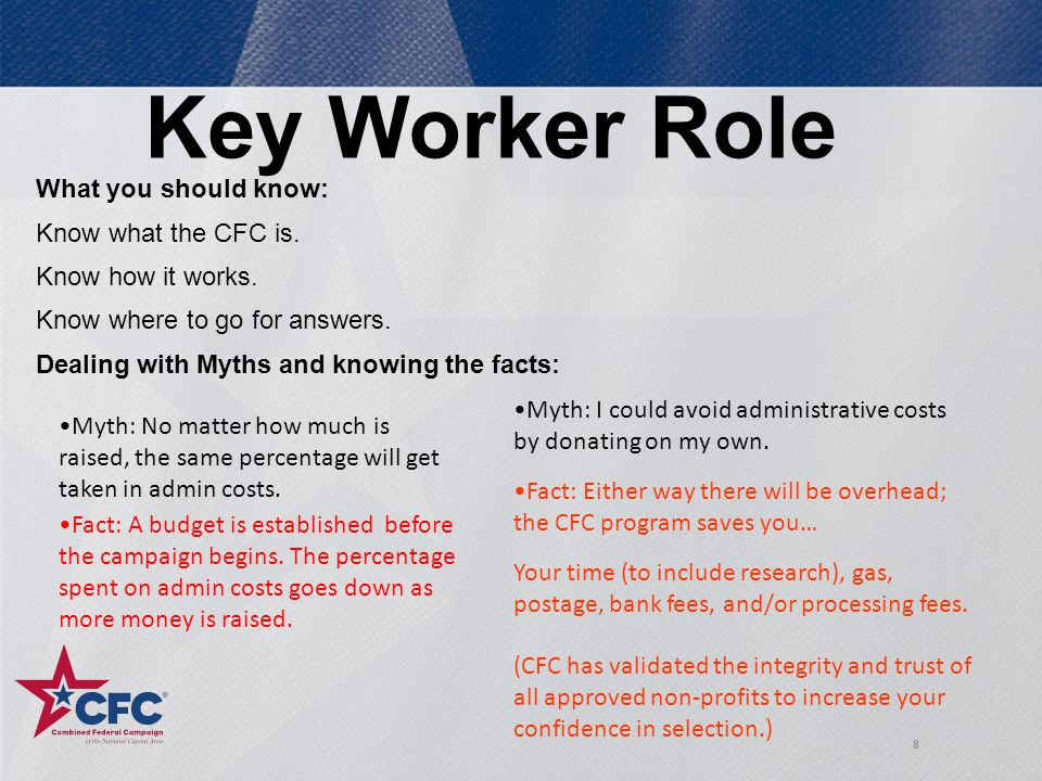 8 Key Worker Role What you should know: Know what the CFC is.