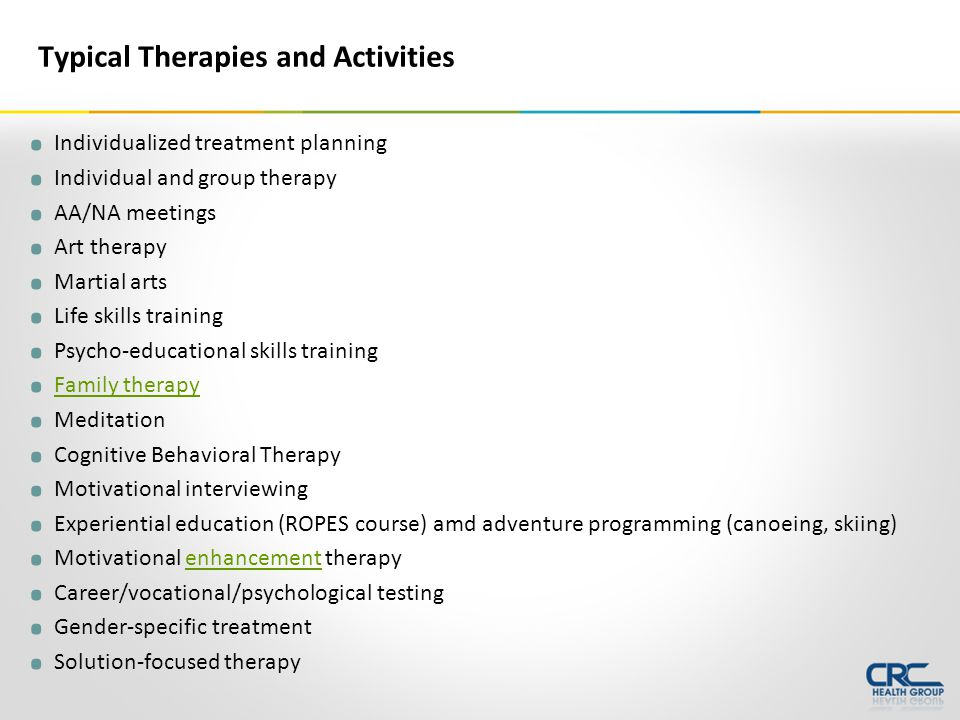 Individualized treatment planning. Individual and group therapy.