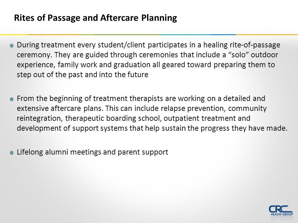 During treatment every student/client participates in a healing rite-of-passage ceremony.