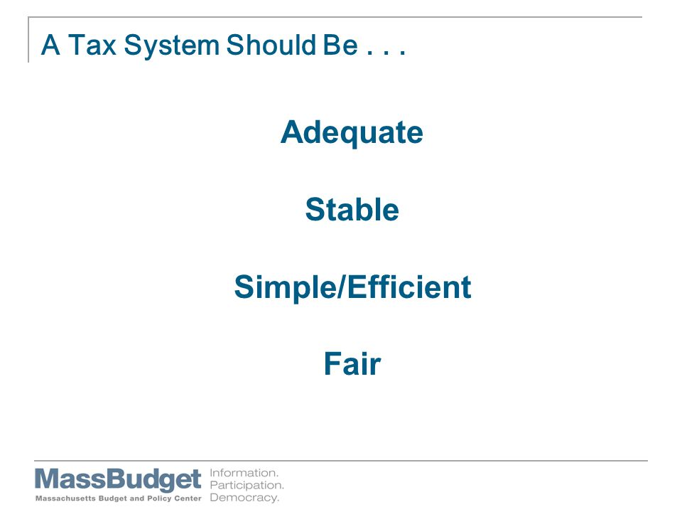 A Tax System Should Be... Adequate Stable Simple/Efficient Fair