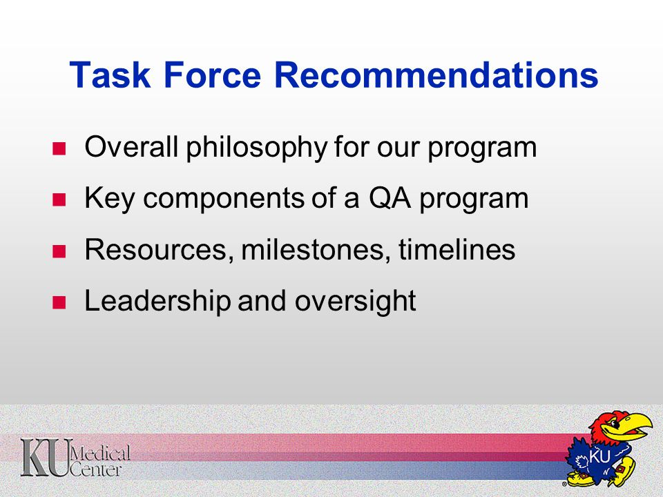 Task Force Recommendations Overall philosophy for our program Key components of a QA program Resources, milestones, timelines Leadership and oversight