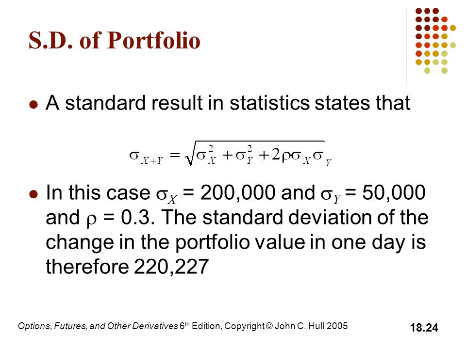 Options, Futures, and Other Derivatives 6 th Edition, Copyright © John C. Hull 2005 18.24 S.D. of Portfolio A standard result in statistics states tha