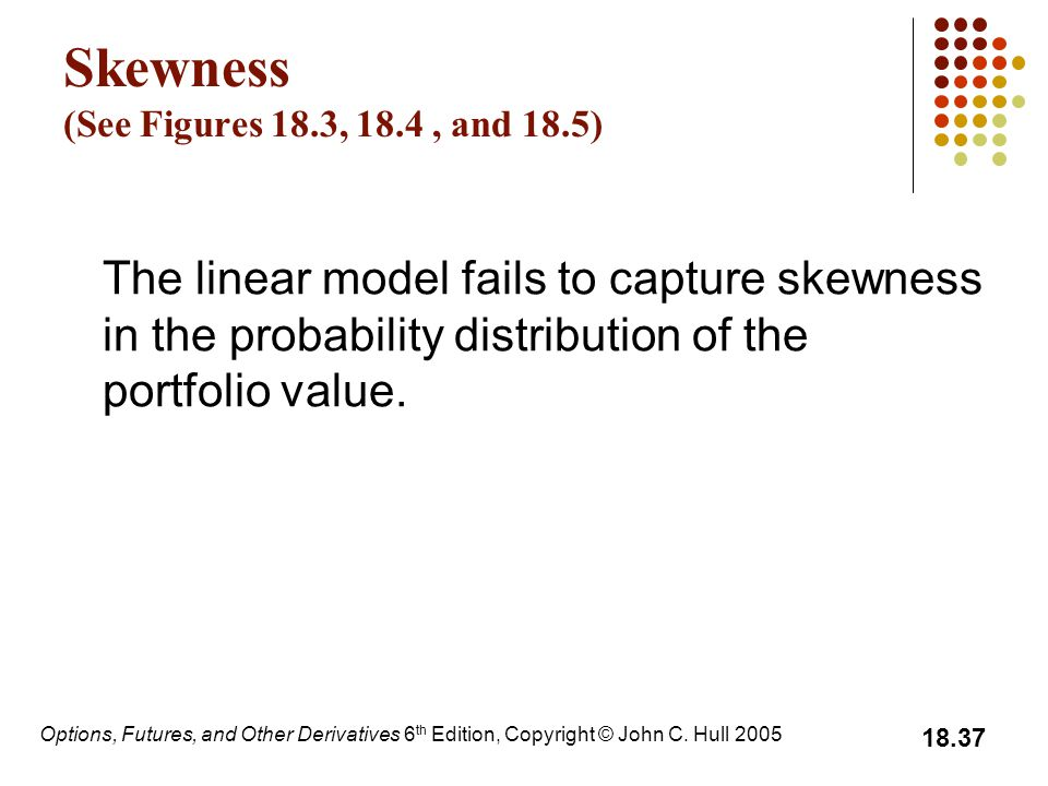 Options, Futures, and Other Derivatives 6 th Edition, Copyright © John C. Hull 2005 18.37 Skewness (See Figures 18.3, 18.4, and 18.5) The linear model