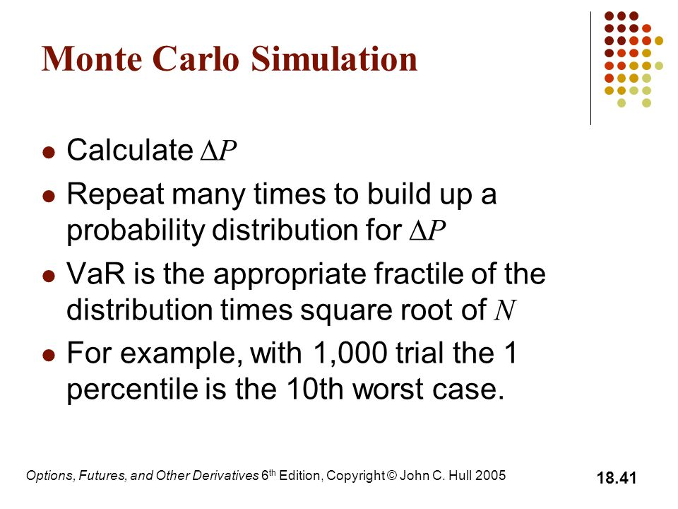 Options, Futures, and Other Derivatives 6 th Edition, Copyright © John C. Hull 2005 18.41 Monte Carlo Simulation Calculate  P Repeat many times to bu