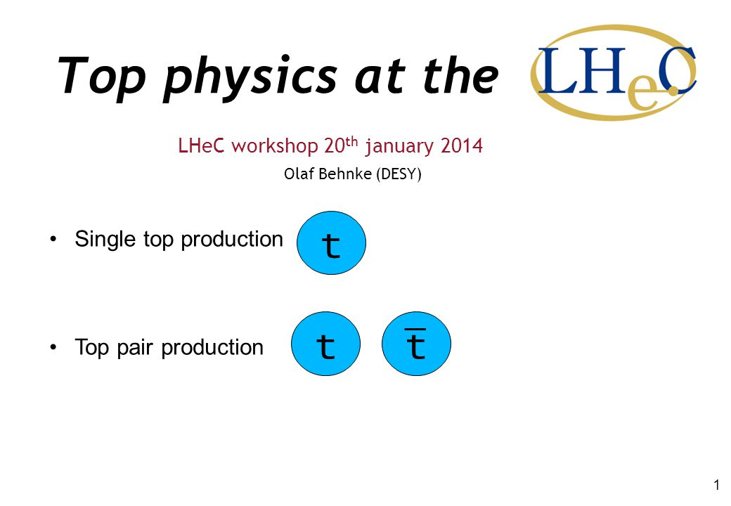 Top physics at the Olaf Behnke (DESY) LHeC workshop 20 th january 2014 1 Single top production Top pair production tt t