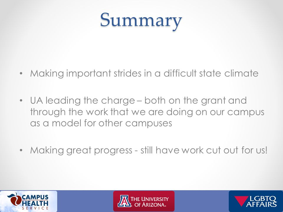 Campus climate (cont'd) Data source: 2011 Campus Climate Survey, Dean of Students Office