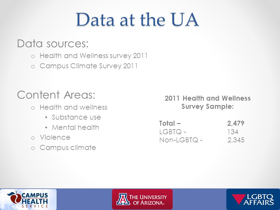 Data at the UA Data sources: o Health and Wellness survey 2011 o Campus Climate Survey 2011 Content Areas: o Health and wellness Substance use Mental health o Violence o Campus climate 2011 Health and Wellness Survey Sample: Total – 2,479 LGBTQ - 134 Non-LGBTQ - 2,345