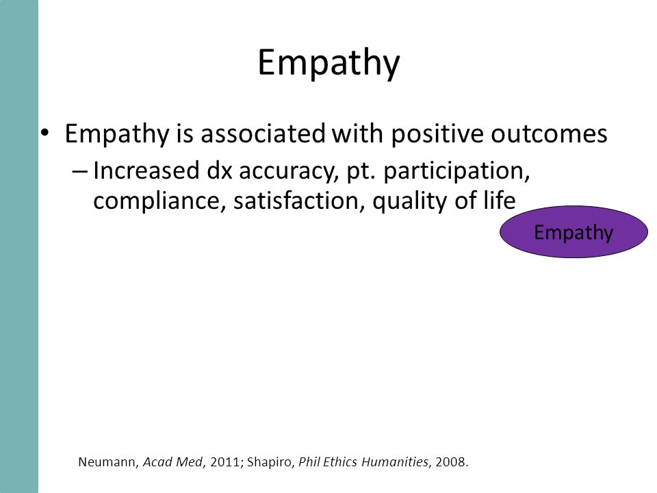 Empathy Empathy is associated with positive outcomes – Increased dx accuracy, pt.
