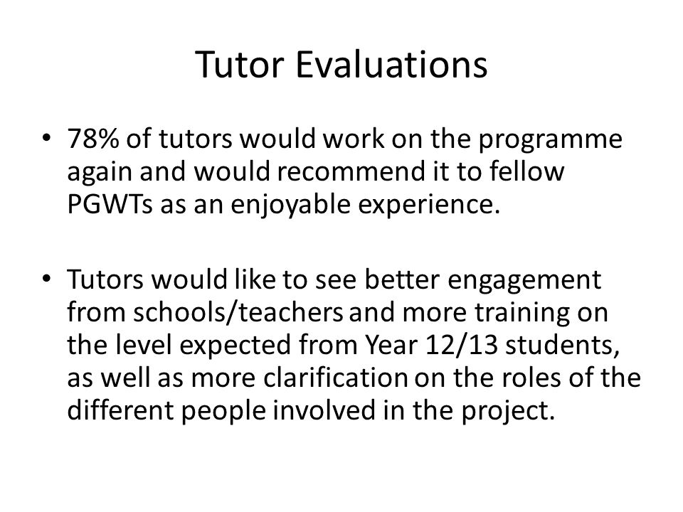 Tutor Evaluations 78% of tutors would work on the programme again and would recommend it to fellow PGWTs as an enjoyable experience.