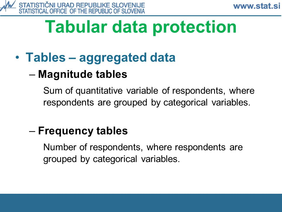 Tabular data protection Tables – aggregated data –Magnitude tables Sum of quantitative variable of respondents, where respondents are grouped by categorical variables.