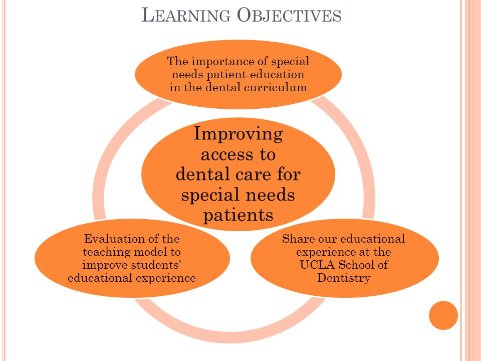 L EARNING O BJECTIVES Improving access to dental care for special needs patients The importance of special needs patient education in the dental curriculum Share our educational experience at the UCLA School of Dentistry Evaluation of the teaching model to improve students' educational experience