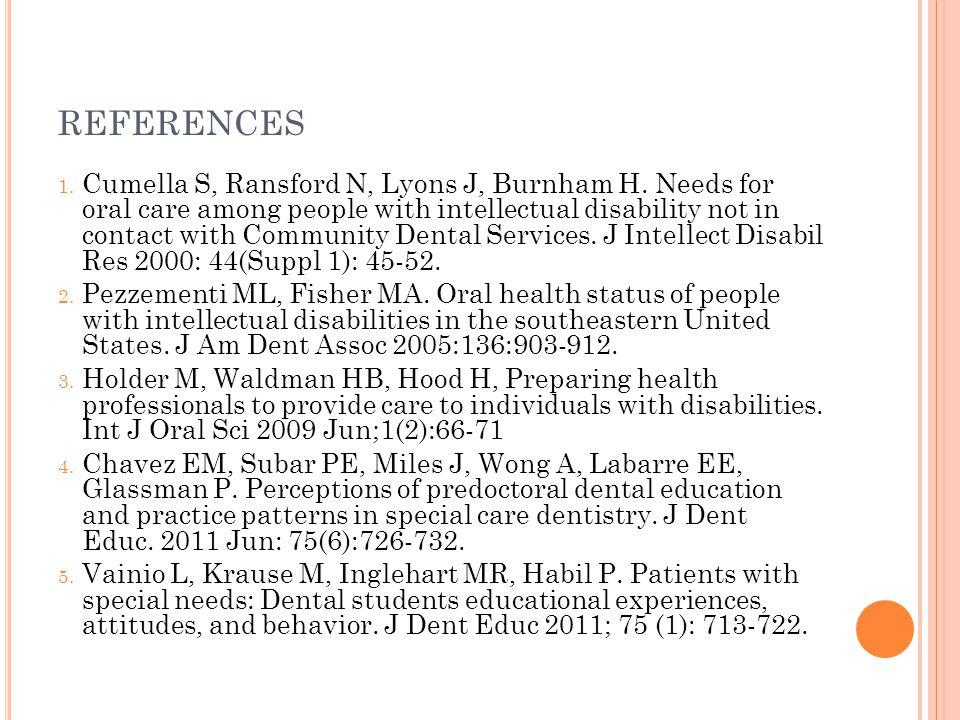 REFERENCES 1. Cumella S, Ransford N, Lyons J, Burnham H.