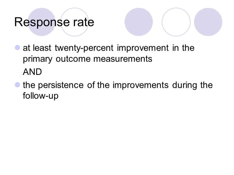 Response rate at least twenty-percent improvement in the primary outcome measurements AND the persistence of the improvements during the follow-up