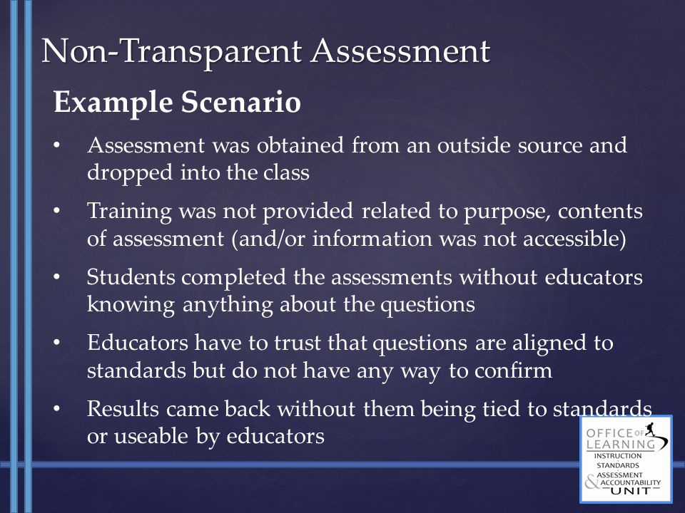 Example Scenario Assessment was obtained from an outside source and dropped into the class Training was not provided related to purpose, contents of a