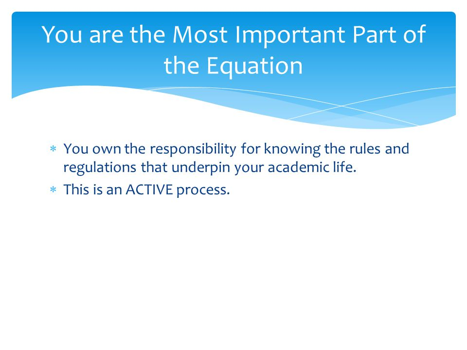  You own the responsibility for knowing the rules and regulations that underpin your academic life.