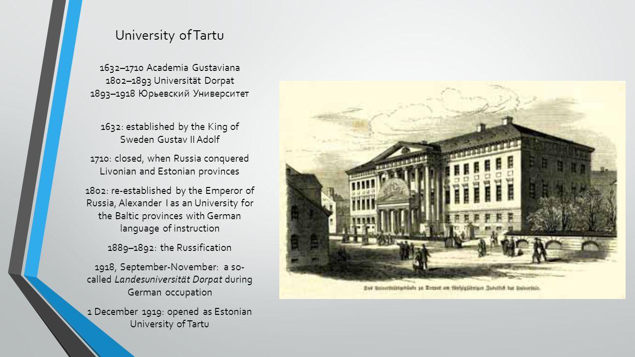 University of Tartu 1632–1710 Academia Gustaviana 1802–1893 Universität Dorpat 1893–1918 Юрьевский Университет 1632: established by the King of Sweden
