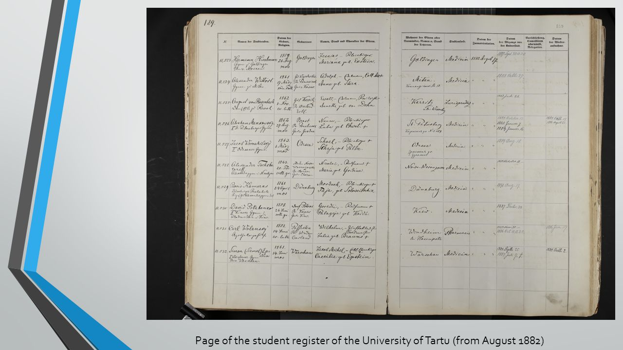 Page of the student register of the University of Tartu (from August 1882)