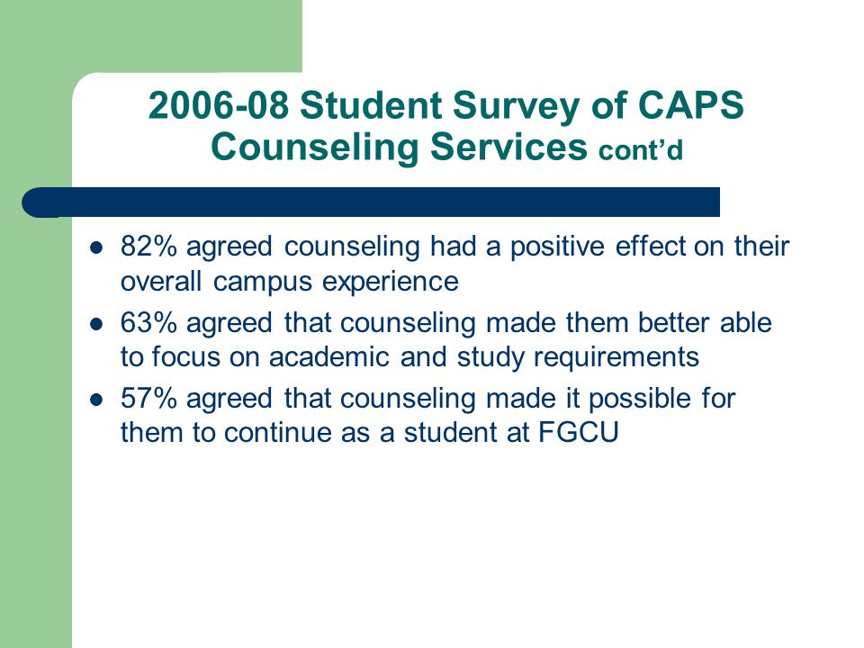 2006-08 Student Survey of CAPS Counseling Services cont'd 82% agreed counseling had a positive effect on their overall campus experience 63% agreed that counseling made them better able to focus on academic and study requirements 57% agreed that counseling made it possible for them to continue as a student at FGCU