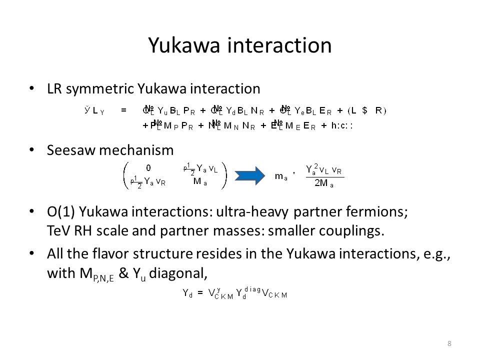 Yukawa interaction LR symmetric Yukawa interaction Seesaw mechanism O(1) Yukawa interactions: ultra-heavy partner fermions; TeV RH scale and partner masses: smaller couplings.