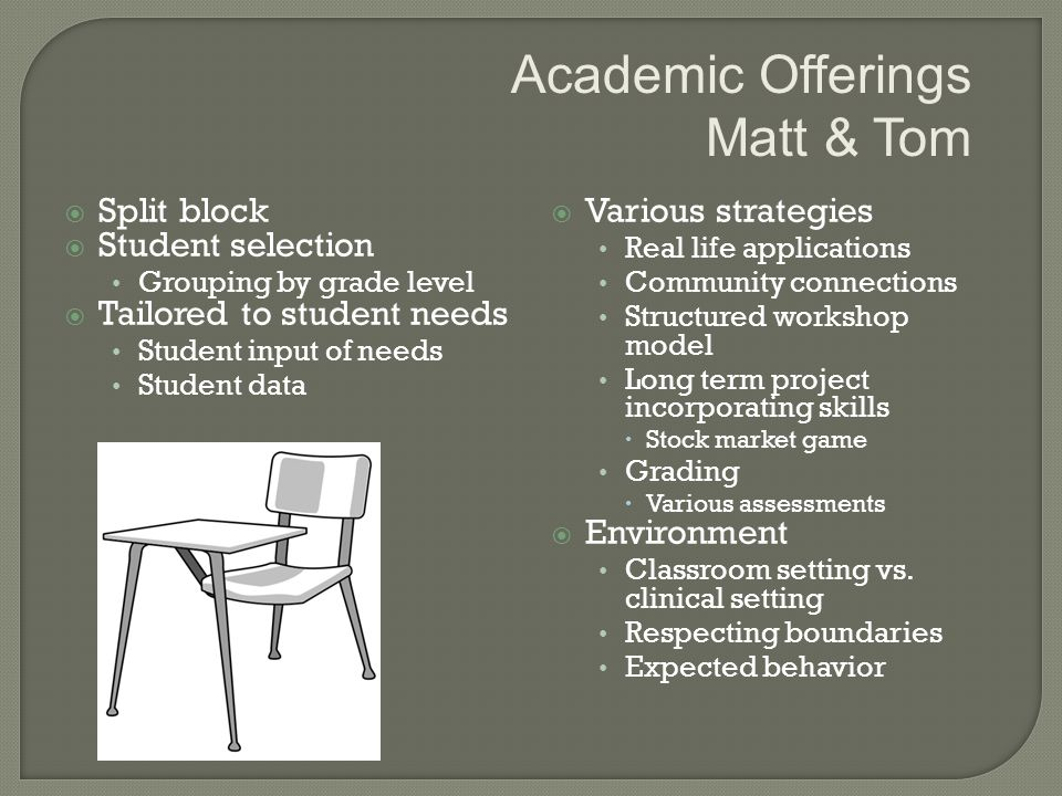  Split block  Student selection Grouping by grade level  Tailored to student needs Student input of needs Student data  Various strategies Real life applications Community connections Structured workshop model Long term project incorporating skills  Stock market game Grading  Various assessments  Environment Classroom setting vs.