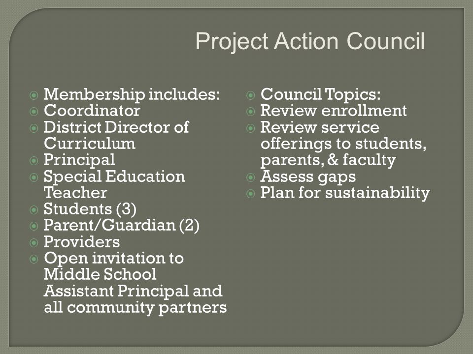  Membership includes:  Coordinator  District Director of Curriculum  Principal  Special Education Teacher  Students (3)  Parent/Guardian (2)  Providers  Open invitation to Middle School Assistant Principal and all community partners  Council Topics:  Review enrollment  Review service offerings to students, parents, & faculty  Assess gaps  Plan for sustainability Project Action Council