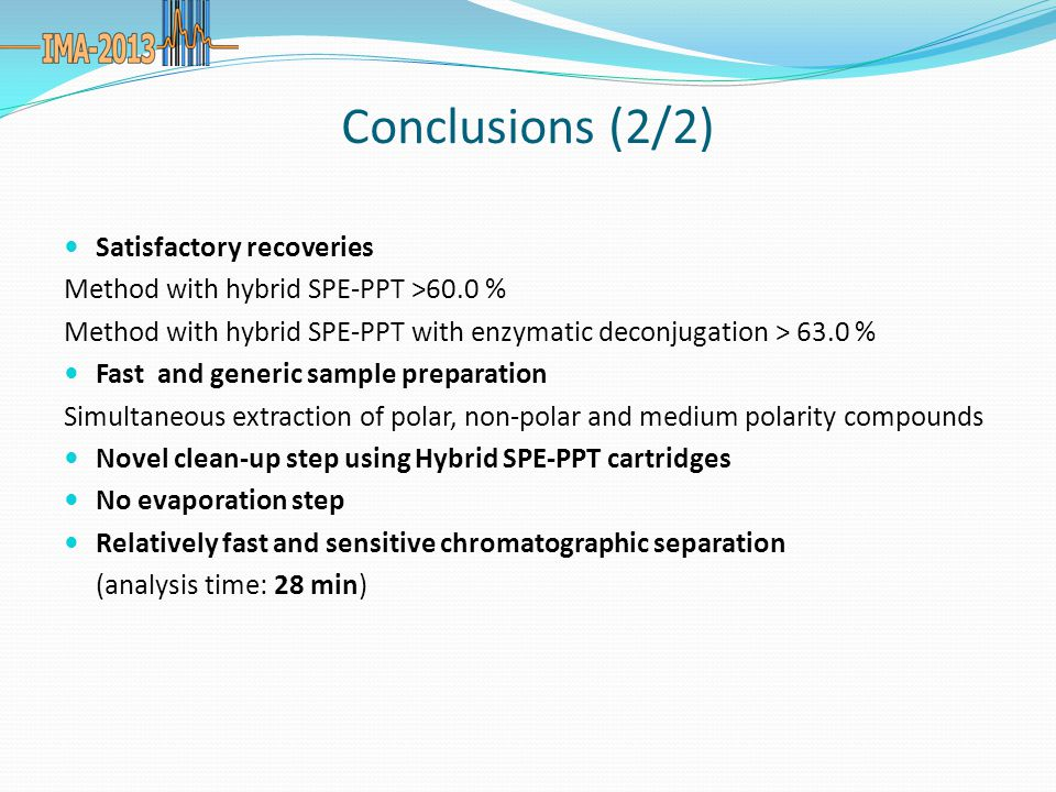 Conclusions (2/2) Satisfactory recoveries Method with hybrid SPE-PPT >60.0 % Method with hybrid SPE-PPT with enzymatic deconjugation > 63.0 % Fast and generic sample preparation Simultaneous extraction of polar, non-polar and medium polarity compounds Novel clean-up step using Hybrid SPE-PPT cartridges No evaporation step Relatively fast and sensitive chromatographic separation (analysis time: 28 min)