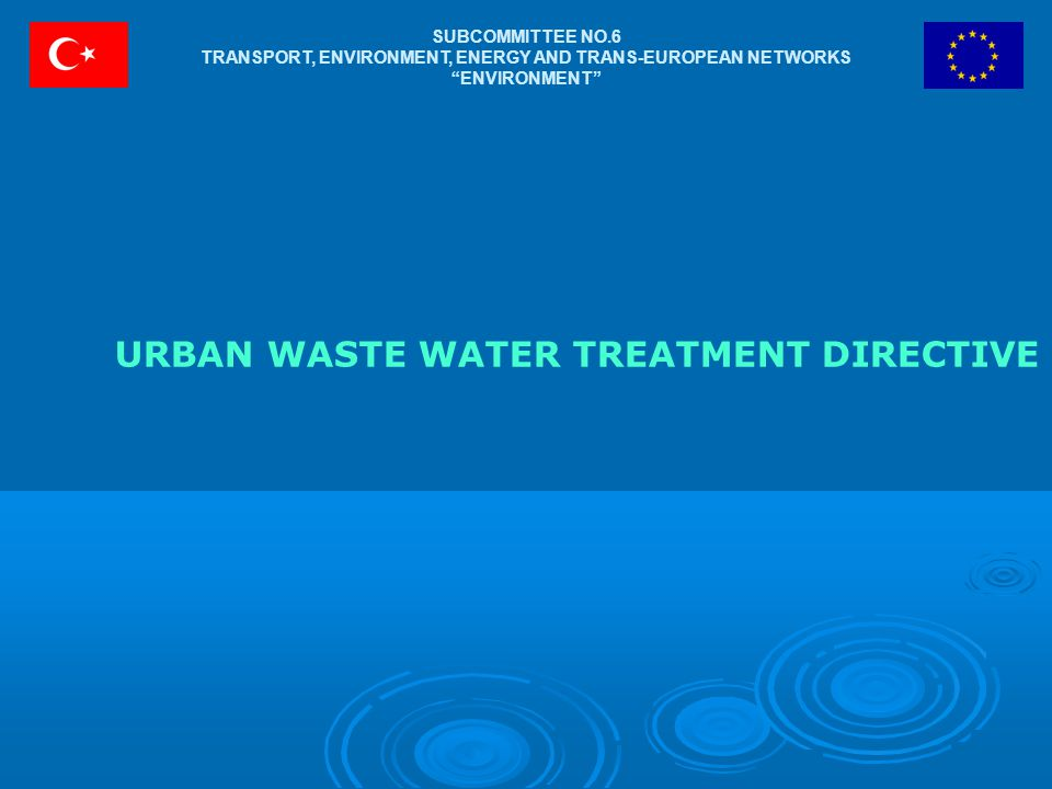 SUBCOMMITTEE NO.6 TRANSPORT, ENVIRONMENT, ENERGY AND TRANS-EUROPEAN NETWORKS ENVIRONMENT URBAN WASTE WATER TREATMENT DIRECTIVE
