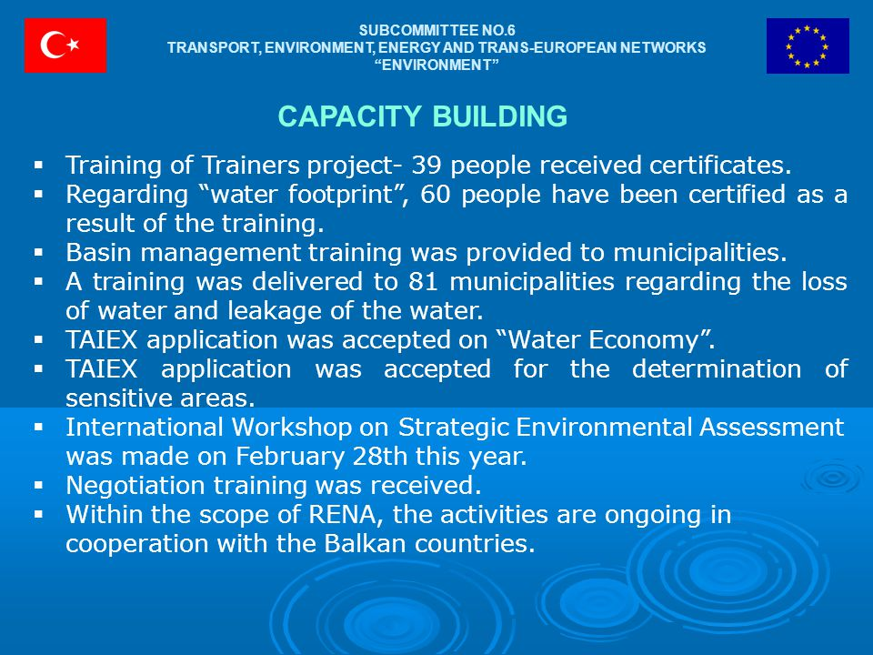 SUBCOMMITTEE NO.6 TRANSPORT, ENVIRONMENT, ENERGY AND TRANS-EUROPEAN NETWORKS ENVIRONMENT CAPACITY BUILDING  Training of Trainers project- 39 people received certificates.