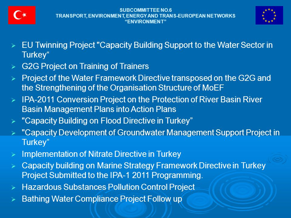 "SUBCOMMITTEE NO.6 TRANSPORT, ENVIRONMENT, ENERGY AND TRANS-EUROPEAN NETWORKS ""ENVIRONMENT""  EU Twinning Project"