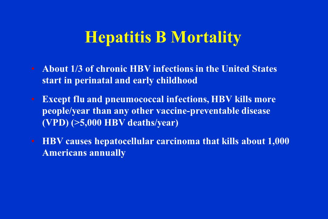 Hepatitis B Mortality About 1/3 of chronic HBV infections in the United States start in perinatal and early childhood Except flu and pneumococcal infections, HBV kills more people/year than any other vaccine-preventable disease (VPD) (>5,000 HBV deaths/year) HBV causes hepatocellular carcinoma that kills about 1,000 Americans annually