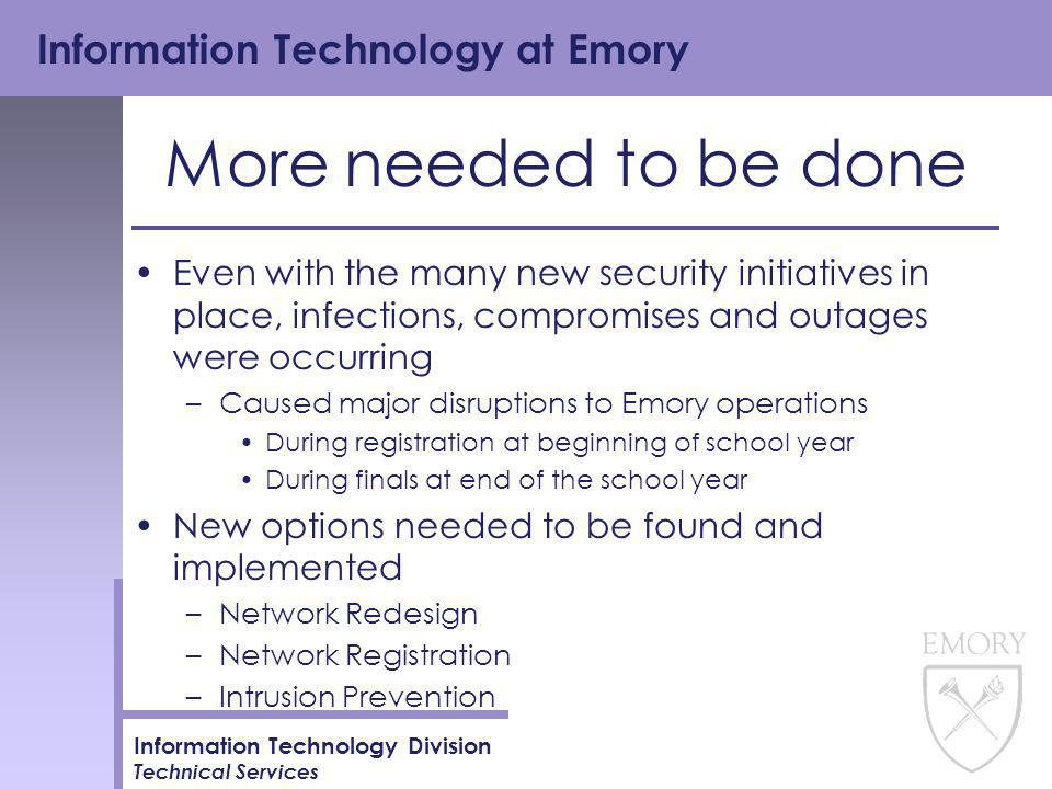 Information Technology at Emory Information Technology Division Technical Services More needed to be done Even with the many new security initiatives in place, infections, compromises and outages were occurring –Caused major disruptions to Emory operations During registration at beginning of school year During finals at end of the school year New options needed to be found and implemented –Network Redesign –Network Registration –Intrusion Prevention