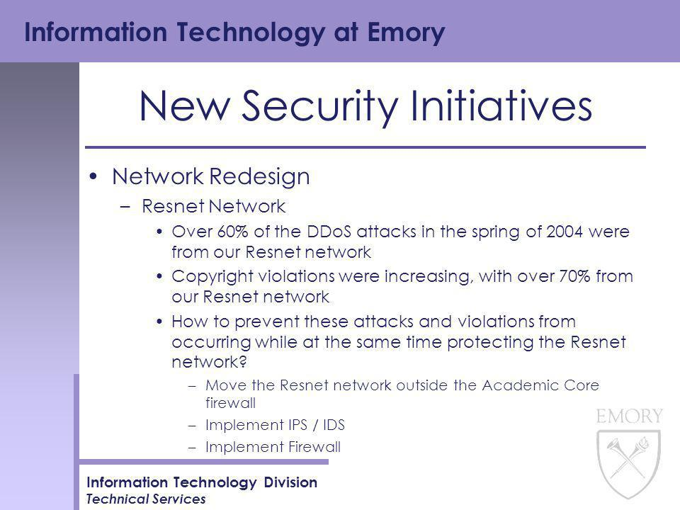 Information Technology at Emory Information Technology Division Technical Services New Security Initiatives Network Redesign –Resnet Network Over 60% of the DDoS attacks in the spring of 2004 were from our Resnet network Copyright violations were increasing, with over 70% from our Resnet network How to prevent these attacks and violations from occurring while at the same time protecting the Resnet network.