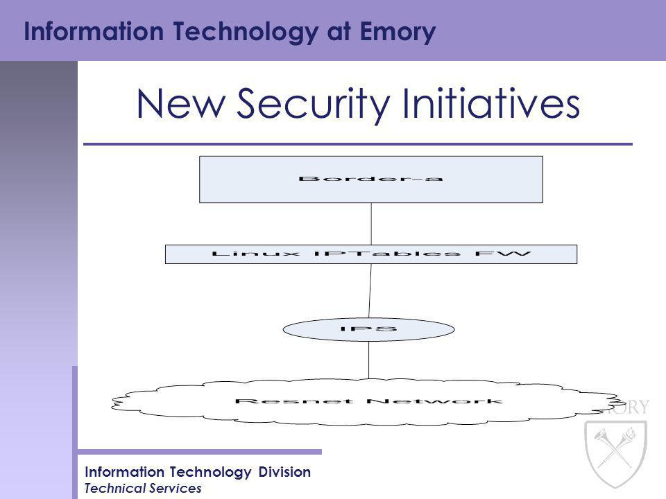 Information Technology at Emory Information Technology Division Technical Services New Security Initiatives