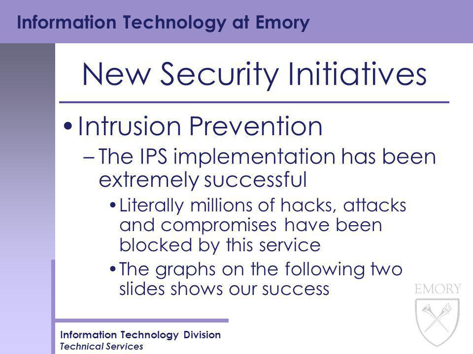 Information Technology at Emory Information Technology Division Technical Services New Security Initiatives Intrusion Prevention –The IPS implementation has been extremely successful Literally millions of hacks, attacks and compromises have been blocked by this service The graphs on the following two slides shows our success