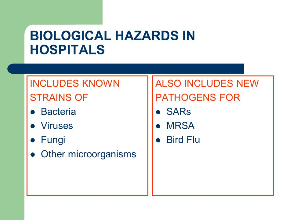 BIOLOGICAL HAZARDS IN HOSPITALS INCLUDES KNOWN STRAINS OF Bacteria Viruses Fungi Other microorganisms ALSO INCLUDES NEW PATHOGENS FOR SARs MRSA Bird Flu