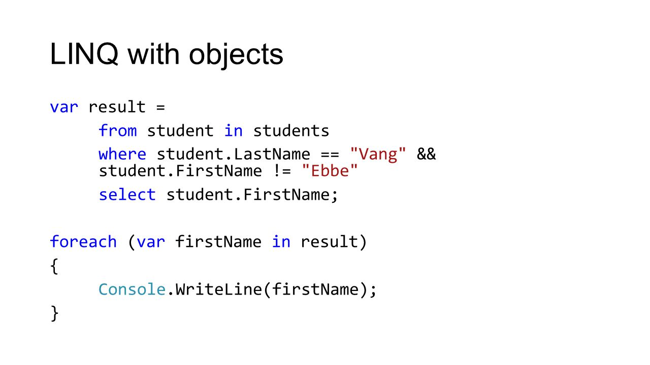 LINQ exercise 1 Create a linq statement that retrieve all words from an array that begins or ends with an 'e'