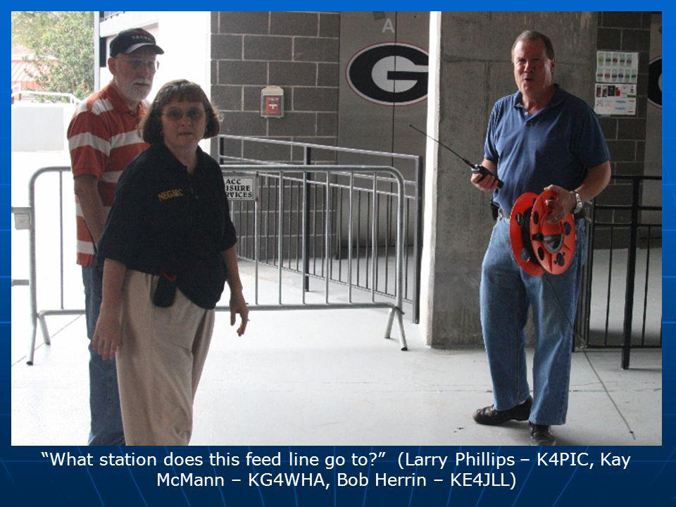 What station does this feed line go to (Larry Phillips – K4PIC, Kay McMann – KG4WHA, Bob Herrin – KE4JLL)