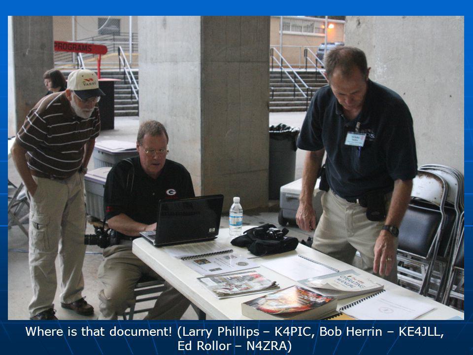 Where is that document! (Larry Phillips – K4PIC, Bob Herrin – KE4JLL, Ed Rollor – N4ZRA)