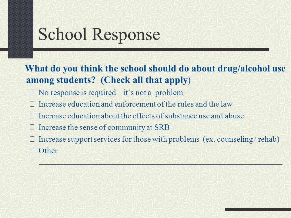 School Response What do you think the school should do about drug/alcohol use among students.