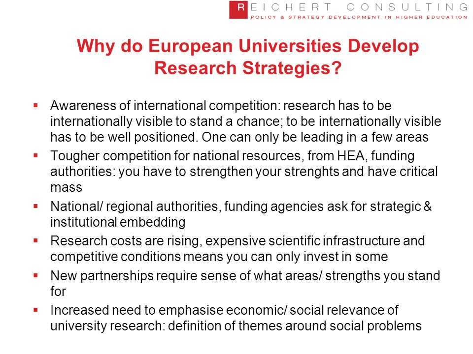 The Main Challenges for Research Intensive Universities in Europe