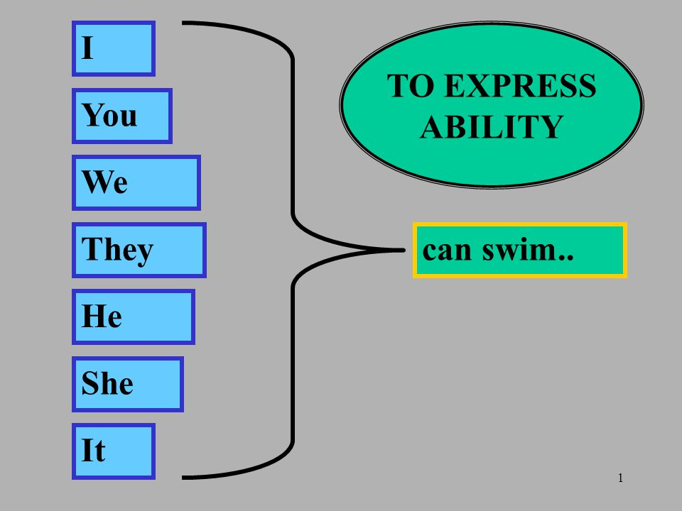 1 I You We They He She It can swim.. TO EXPRESS ABILITY
