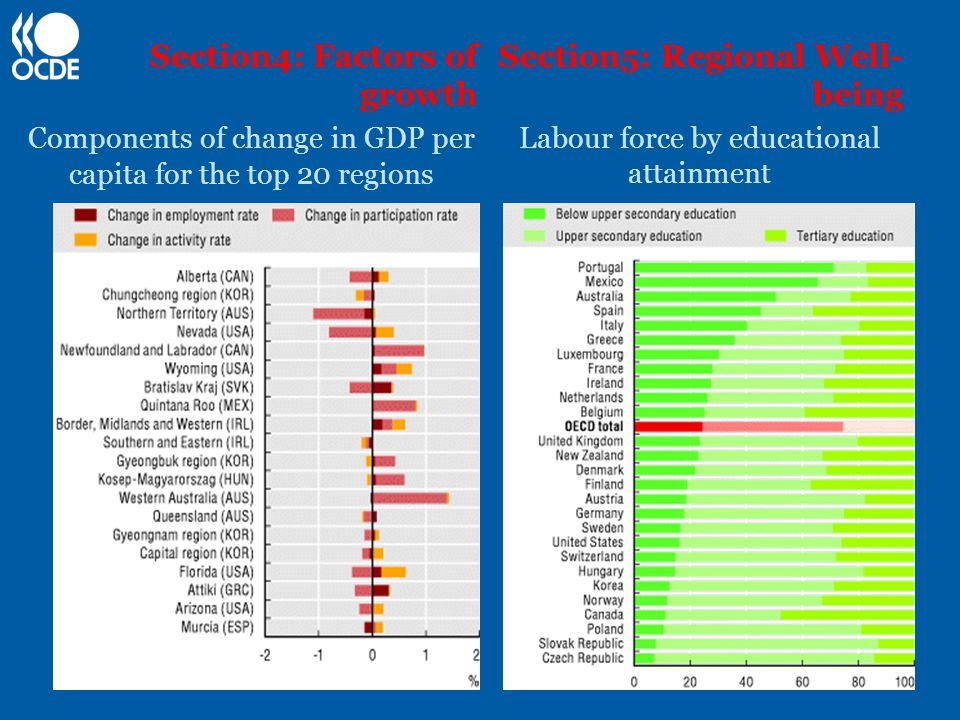 Section4: Factors of growth Components of change in GDP per capita for the top 20 regions Section5: Regional Well- being Labour force by educational attainment