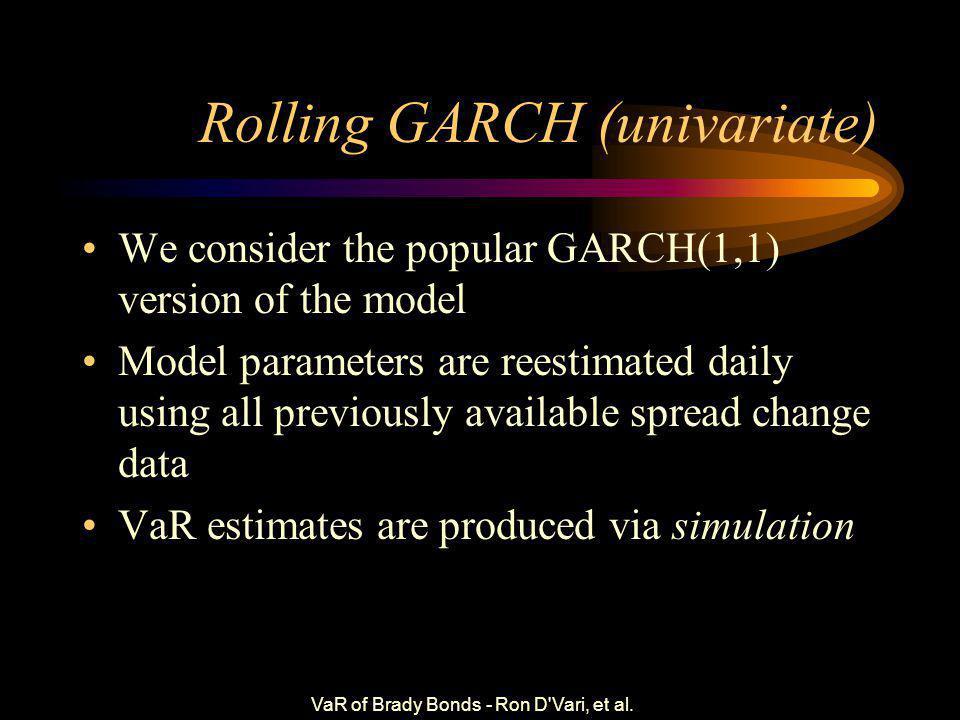 VaR of Brady Bonds - Ron D Vari, et al. Rolling Var-Covar Var t (r  ) = (w 1 d 1...