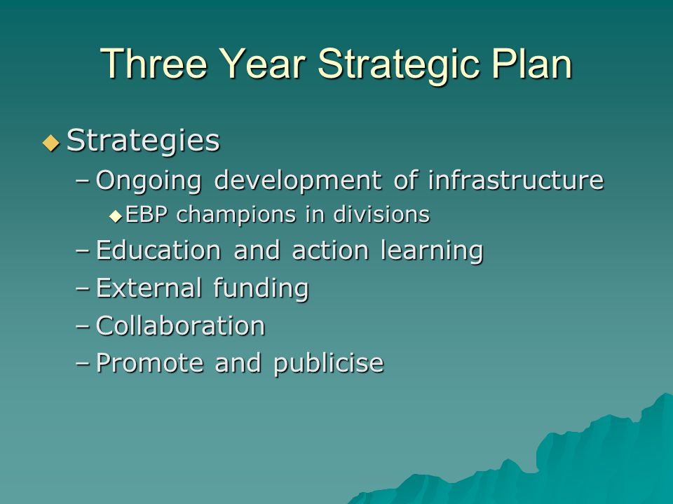 Three Year Strategic Plan  Strategies –Ongoing development of infrastructure  EBP champions in divisions –Education and action learning –External funding –Collaboration –Promote and publicise